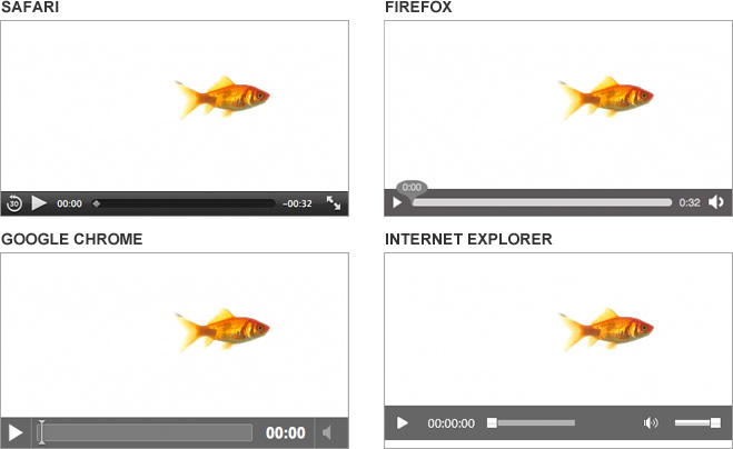 Default HTML5 video player views in Safari, Firefox, Google Chrome and Internet Explorer